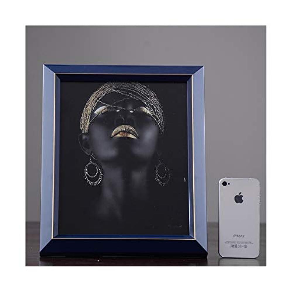 修士号遊びます補充LANYAOWEN ヨーロッパの純木の写真フレーム、6インチ7インチ10インチのデスクトップの装飾の装飾品 (Color : Blue, Size : 10 inches)