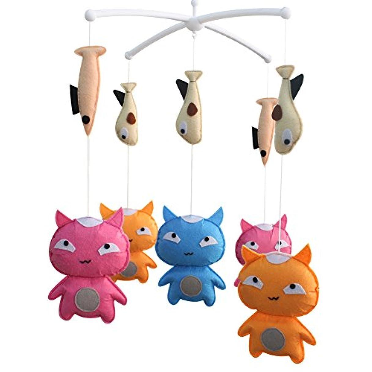 交じる文字通り順応性のある[面白い猫]ミュージカルベイビーモバイルナーサリーアニマルベイビーモバイルベビーベッド