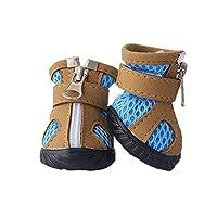 Fengkuo 犬の靴、夏の 子犬の靴、ソフトで快適な、滑り止めウェアラブル、防水サンダル、4枚組、カーキ色、ピンク、2色 夏は滑り止め用の犬靴 (Color : Khaki, Size : L)