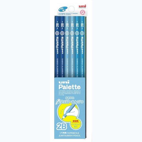 三菱鉛筆 鉛筆 かきかたグリッパー ユニパレット 2B 青 1ダース K69082B