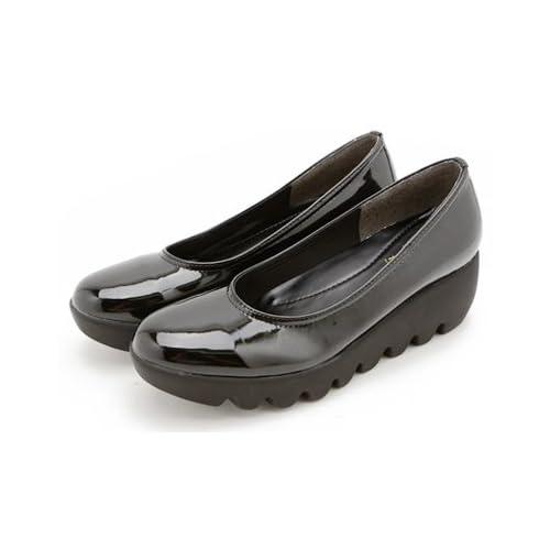 Clack レディース 靴 / プレーン デザイン ウェーブソール ラウンドトゥパンプス ブラック/エナメル 23.5cm [ 合成皮革 ] 【正規品】