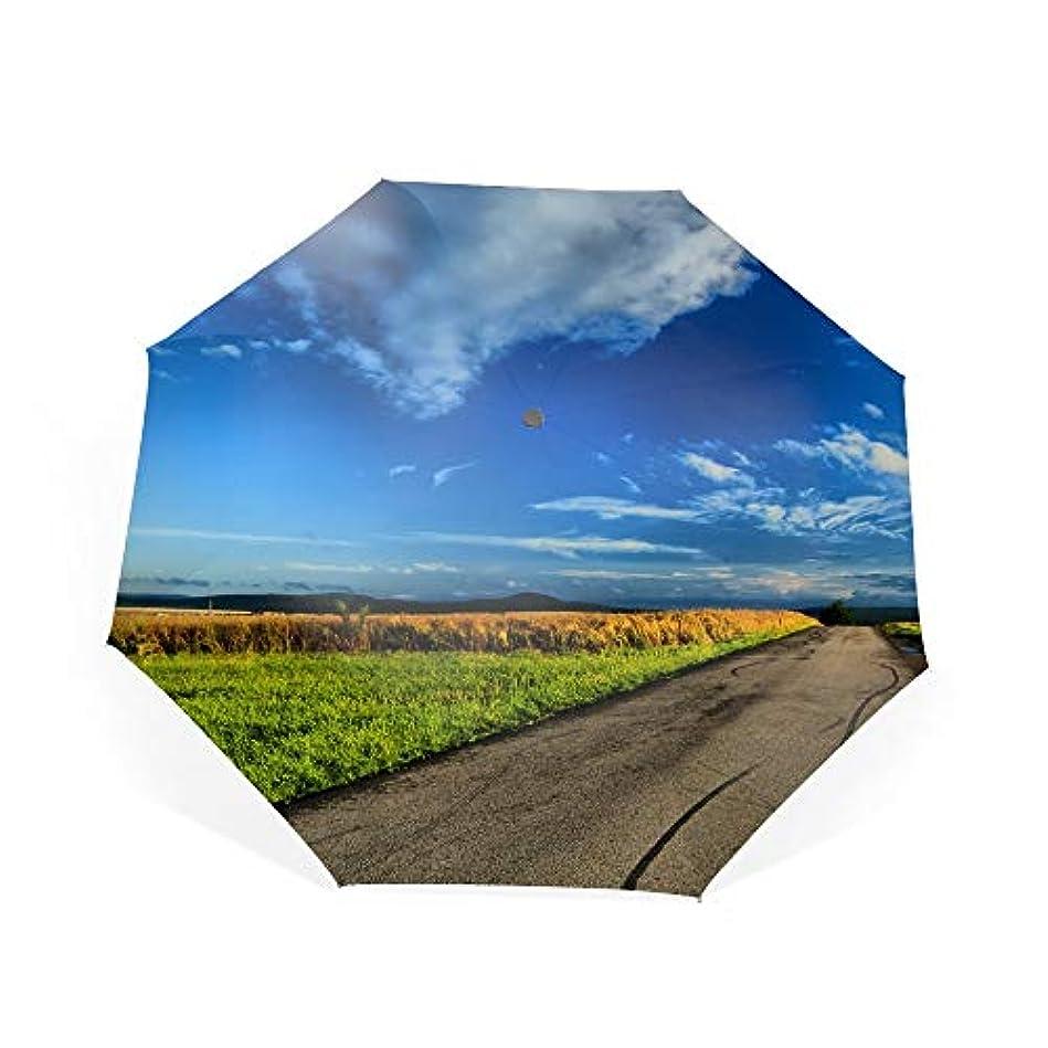 グリル翻訳牛折り畳み傘 ワンタッチ自動開閉 日傘 晴雨兼用 軽量 紫外線遮断率99%以上日差しに超強いアナログ 傘強度アップ8本骨ガラス繊維 可愛いハンドル 耐風撥水 可愛い傘袋付きフィールド雲道路水たまりスカイ