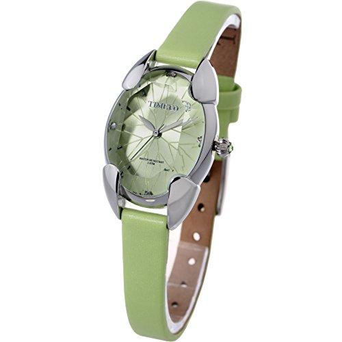 Time100 レディース腕時計 多面ひし形クリスタル サテンバンド 日本製クオーツ(SEIKOPC21Movt)レディースウォッチ グリーン色#W50010L.03A