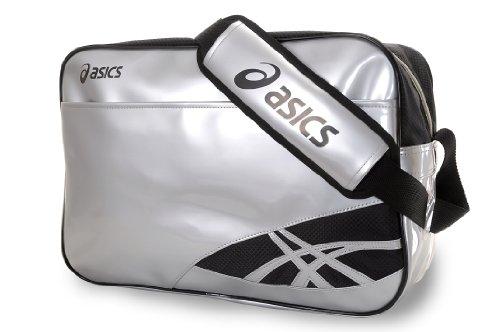 asics(アシックス) エナメルバッグ EBG477 1090シルバー×ブラック F