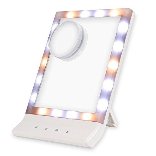 EUPH 化粧鏡 美人鏡 18個 LEDライト付き 三種類ライト調節 USB充電 持ち運び便利 角度調整可