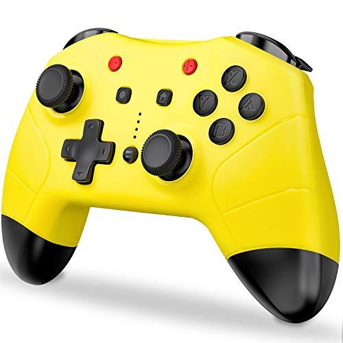 switch コントローラー BEBONCOOL 任天堂 switch用ジョイコンと交換 ジャイロ 連射機能搭載 スイッチ コントローラー Bluetooth接続でデュアルショック Nintendo switchに対応 ワイアレス switch プロコン 無線 黄色 「本体最新バージョンに対応」