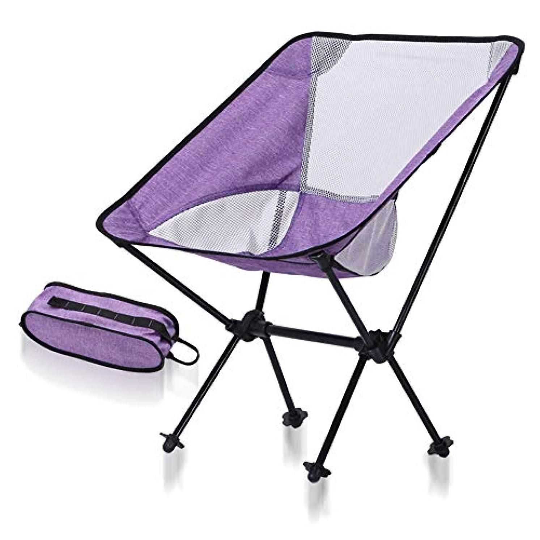 散歩に行く特殊ペリスコープ携帯用浜のキャンプキャリーバッグが付いている携帯用折りたたみ椅子 -アウトドアチェア 折りたたみ 超軽量 (色 : Purple+White Net)