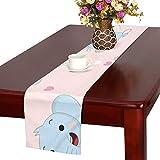 LKCDNG テーブルランナー ピンクの地色 象 クロス 食卓カバー 麻綿製 欧米 おしゃれ 16 Inch X 72 Inch (40cm X 182cm) キッチン ダイニング ホーム デコレーション モダン リビング 洗える