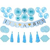 Baby Shower Decorations Complete Set Napkins + Plates BABY SHOWER IT'S A BOY Banner Paper fans Honeycomb Balls Tassels Balloons Table Cloth Blue Party Decoration Nursery Room decor for New Parent [並行輸入品]