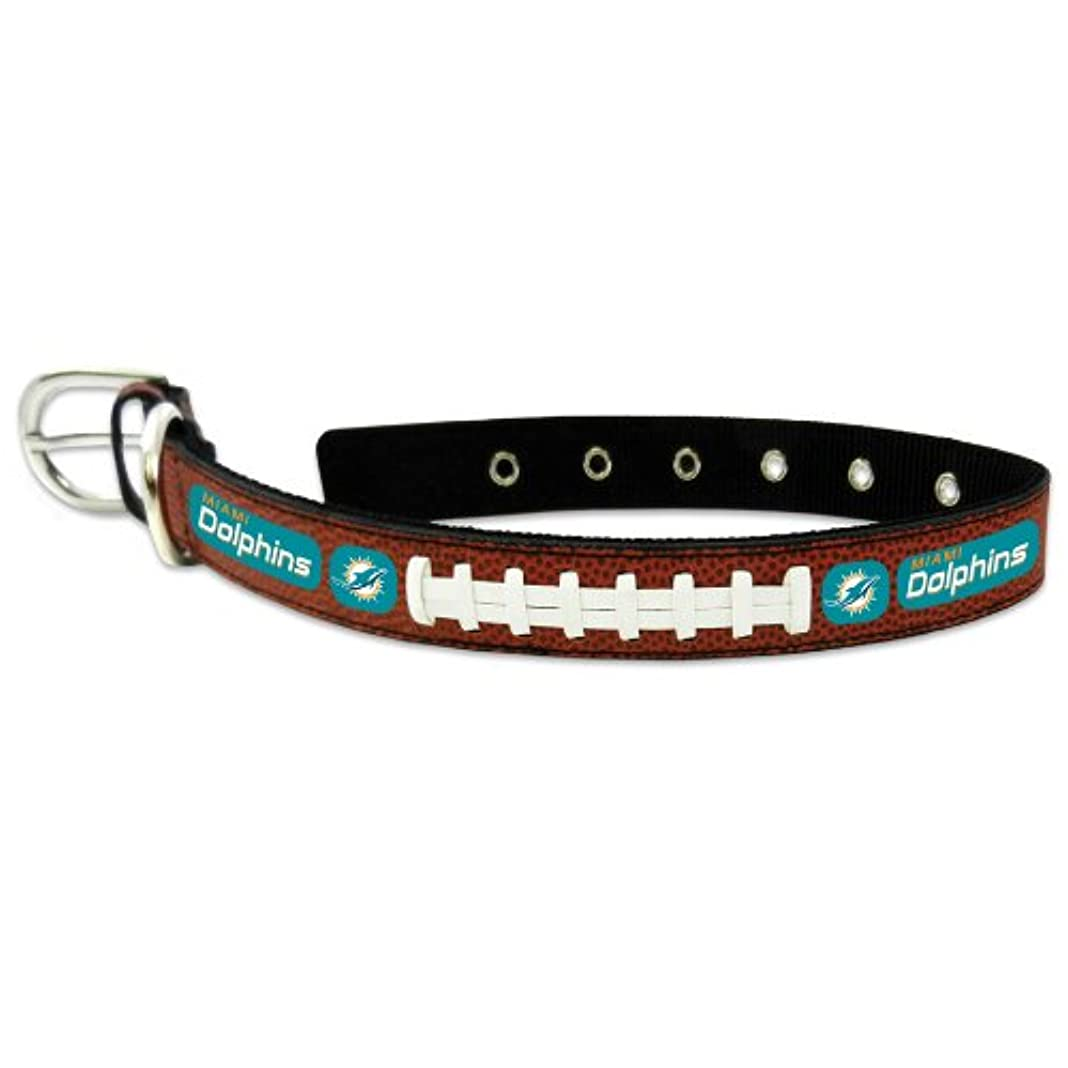 シュリンク塩辛い虚偽Miami Dolphins Classic Leather Medium Football Collar