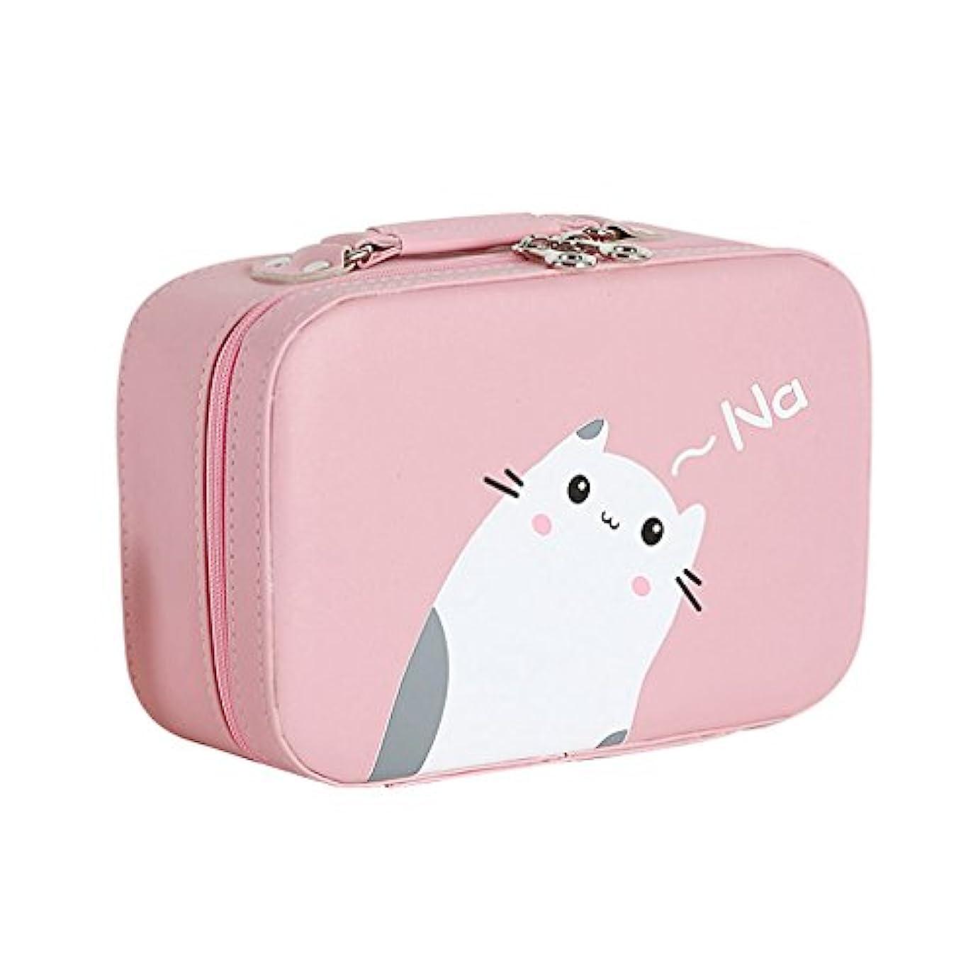間に合わせ主観的驚いた店舗]化粧ポーチ 大容量 機能的 猫柄 11選択 メイクポーチ 化粧ボックス バニティーケース 仕切り 鏡付き ブラシ収納 取っ手付き ダブルジップ 撥水加工 かわいい おしゃれ 軽量 女性