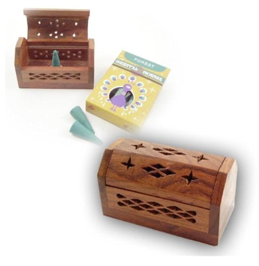 ステップ悲劇的な感染するお香立て コーン用BOX SSサイズ ブラウン シーシャムウッド (ブラウン)