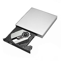 Qtop USB2.0対応 ポータブルドライブ CD-RWレコーダー 2つのUSBケーブル付き 超薄型-シルバー【改良版】