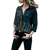 FIYOTE Women Casual Cuffed Long Sleeve V Neck Button up Color Block Stripes Blouse Tops S-XXL
