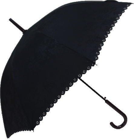 晴雨兼用傘 ・ エンボスプリント 花柄 ヒートカット フリル 大寸 58cm ジャンプ 長傘 (黒)