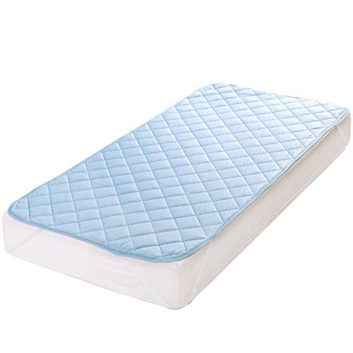 接触冷感敷パッドシーツ ひんやり リバーシブル 涼感 抗菌防臭加工 吸水速乾 熱帯夜対策 丸洗い可 100×200cm シングル ブルー