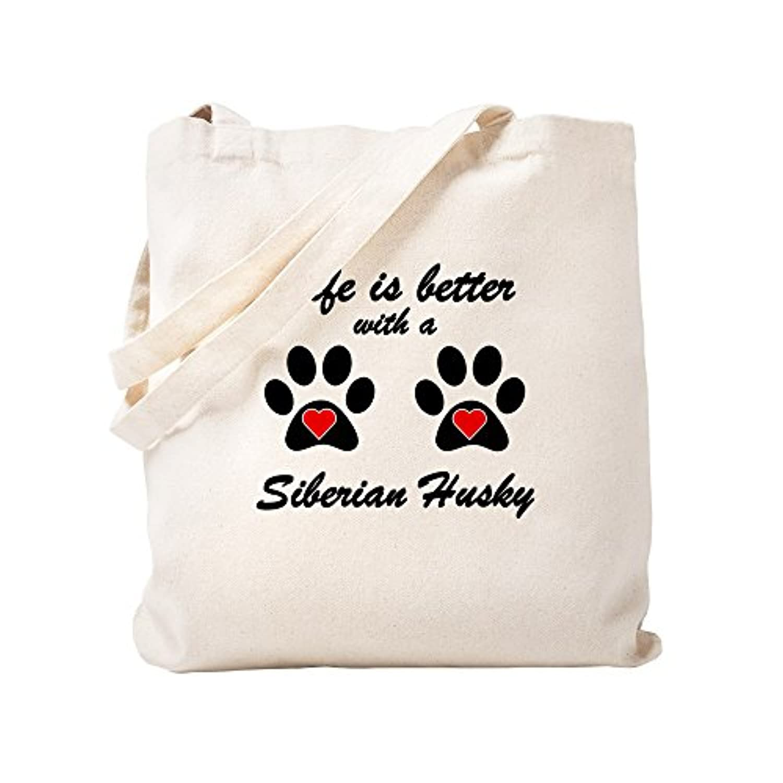 CafePress – Life Is Better With A Siberian Husky – ナチュラルキャンバストートバッグ、布ショッピングバッグ S ベージュ 0897779076DECC2