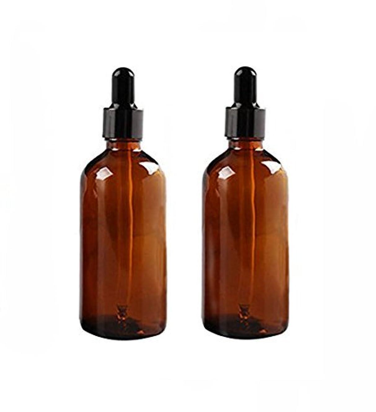 例外素人球状2 Pcs 100ml Empty Amber Glass Bottle with Glass Dropper for Essential Oil Formulas [並行輸入品]