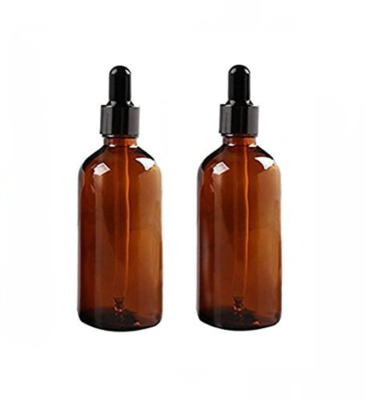 バスタブパッケージ沈黙2 Pcs 100ml Empty Amber Glass Bottle with Glass Dropper for Essential Oil Formulas [並行輸入品]