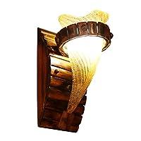 ウォールランプ アメリカンウォールランプバンブーランプガラスランプシェードコンクモデリングファッションシンプルコリドールリビングルームパーソナライズ装飾的なアンティークウォールライト