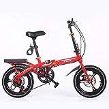 自転車大人 夏のアウトドア旅行用自転車 学生用ロードバイク 男女20インチスピード調節可能ディスクブレーキ 超軽量ポータブルミニバイク (Color : Red, Size : 20inch)
