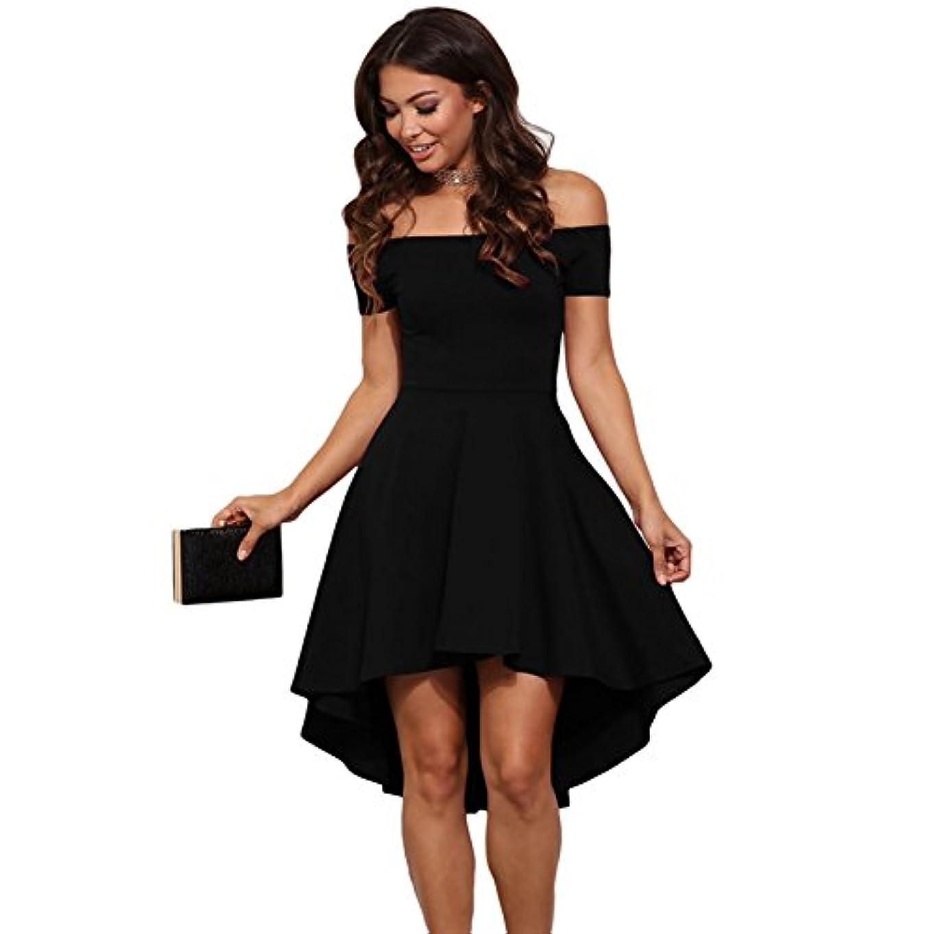 防水実験をするへこみOnderroa - ヴィンテージ女性のセクシーなスラッシュネックソリッドカラーパーティー秋の新しいファッションAライン黒赤ワイン膝丈のドレスドレス
