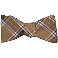 Bow tie Self Tie Bowtie Casual 100% Cotton Brown Blue White Plaid Adjustable