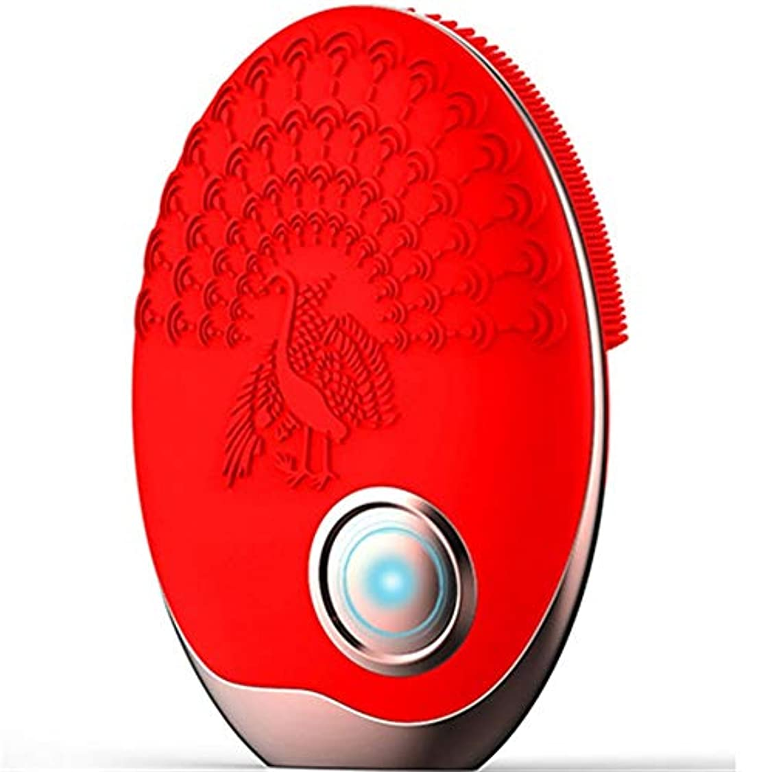 ピーク絶滅した流行しているZHILI 洗顔ブラシ、ワイヤレス充電クレンジング美容器具、電気掃除用ブラシ、超音波振動洗浄用ブラシ、シリコーン洗濯機 (Color : Red)
