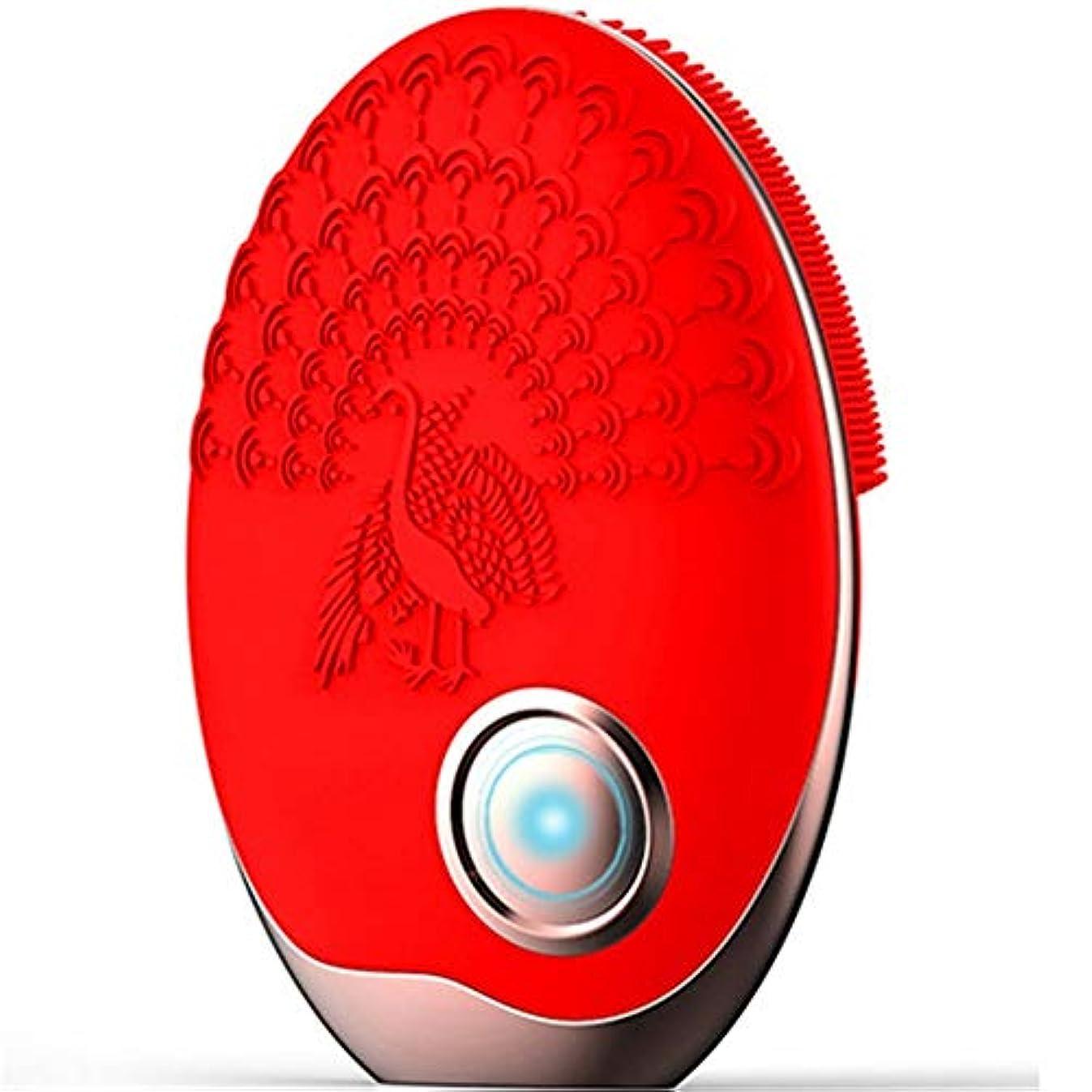 グリット寝具電気的ZHILI 洗顔ブラシ、ワイヤレス充電クレンジング美容器具、電気掃除用ブラシ、超音波振動洗浄用ブラシ、シリコーン洗濯機 (Color : Red)