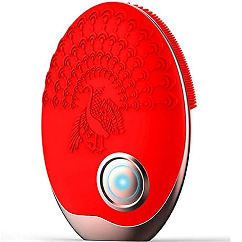 重々しいコントラストボットZHILI 洗顔ブラシ、ワイヤレス充電クレンジング美容器具、電気掃除用ブラシ、超音波振動洗浄用ブラシ、シリコーン洗濯機 (Color : Red)