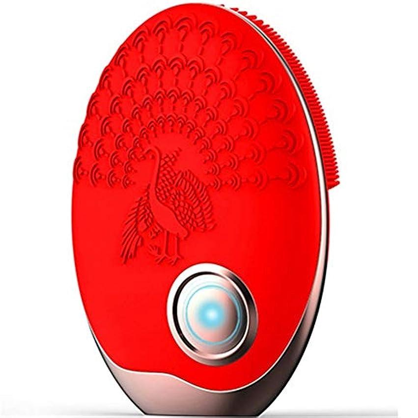 結婚した招待イタリアのZHILI 洗顔ブラシ、ワイヤレス充電クレンジング美容器具、電気掃除用ブラシ、超音波振動洗浄用ブラシ、シリコーン洗濯機 (Color : Red)