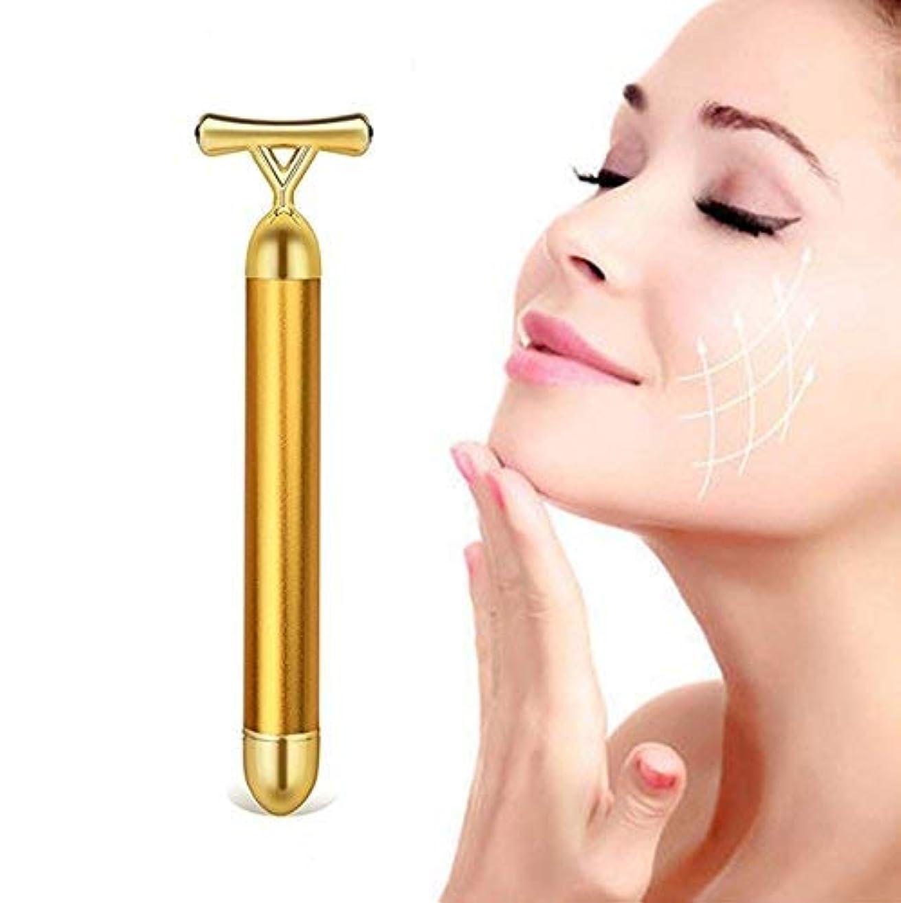 追放きらめき感じBeauty Bar 24k Golden Pulse Facial Massager Y-Shape Electric Face Massage Tools Gold Stick Skincare Wrinkle Treatment...