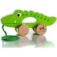 Wooden Pull Along Crocodile Toy – に沿って美しいクロコダイルPull Toy For Baby Boy & Girl – 最高のおもちゃを1年間オールズモビルとup-アウトドアインドアおもちゃfor Babies & toddlers-子セーフ