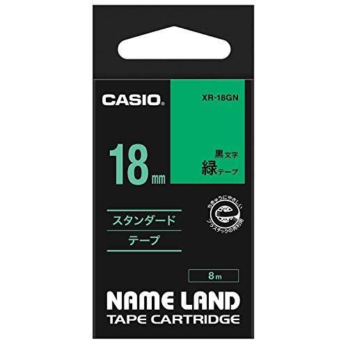 カシオ ネームランド ラベルライター 純正 テープ 18mm XR-18GN 緑地に黒文字