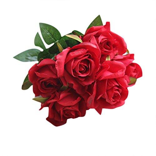 杜屋トヤ ホーム 花束 手作りギフト 造花 1束7本バラ、造...