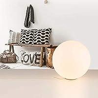 JIAJIA 乳白色の球形のガラスLEDの卓上スタンドの居間の研究のベッドサイドの寝室のランプの直径25CMの三色ランプ クリエイティブ