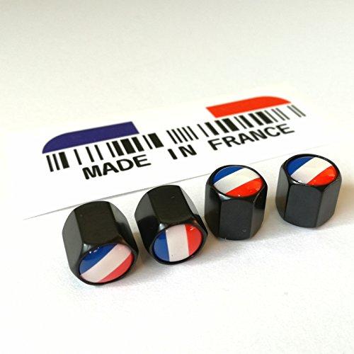フランス国旗 タイヤバルブキャップ 黒 4個 & MADE IN FRANCE ステッカー セット
