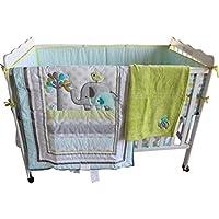 New Baby Safari Elephant 4pcs Crib Bedding Set (without bumper),1) quilt,1)sheet,1)fleece blanket,1)dust ruffle by WM
