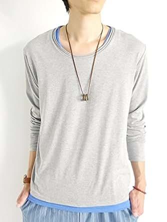(モノマート) MONO-MART ふわさら 杢調 カットソー ツインロール ゆる リラクシング Tシャツ 夏 秋 カラー Uネック 長袖 デザイン メンズ グレーLサイズ