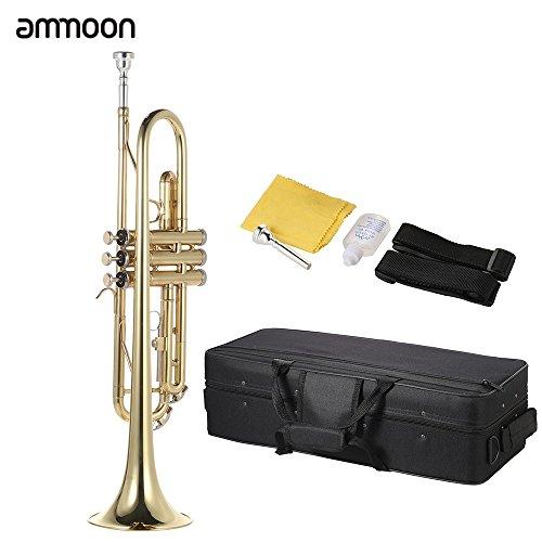 ammoon Bb B Flat トランペット 真鍮製 金メッキ仕上 げ 初心者入門セット 吹奏楽 練習用 本番にも 使い勝手はあなた次第!