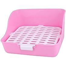uxcell Plastic Rectangle Design Indoor Rabbit Puppy Cat Pet Training Toilet Potty Pink White