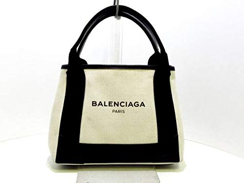 (バレンシアガ) BALENCIAGA トートバッグ ネイビーカバXS アイボリー×黒 390346 【中古】
