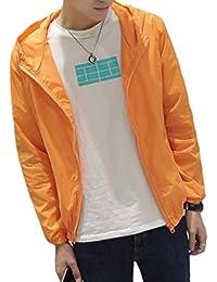 Keaac メンズ薄型軽量ジャケットコートウィンドプルーフフードジャケット