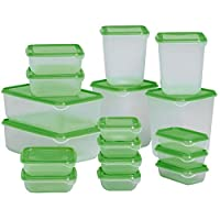 Best Quality - Bowls - 17 Pieces Multifunction Plastic Lunch Box Set Green Kitchen Food Storage Sets Oven Safe Food Containers - by Tini - 1 PCs