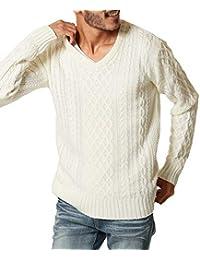 JIGGYS SHOP (ジギーズショップ) ニット セーター メンズ ニット クルーネック Vネック ケーブル編み 厚手 長袖 防寒