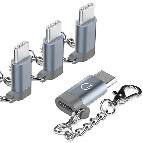 【4点セット】Gratein Micro usbからType-C 変換アダプタ 56Kレジスタ使用 Quick Charge3.0対応 アルミニウム合金外殻 Nintendo Switch、新しいMacBook Pro、ChromeBook Pixel、Nexus 5XなどType-C端末に対応