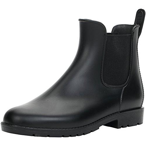 [Hellozebra] サイドゴアブーツ レディースレインシューズ レインブーツ ラバー ショートブーツ 長靴 婦人靴 高級PVCおしゃれ 軽量、快適、防水、耐滑、晴れの日も履きたい L(24.0cm) ブラック