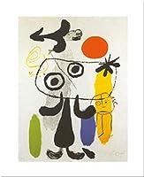 Figur Gegen Rote Sonne II by Joan Miro 20X 16アートプリントポスター