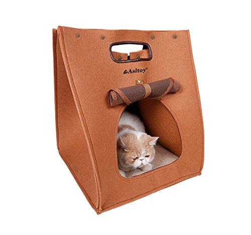 Asltoy® 3WAY 猫 ハウス キャリーバッグ ペット ハウス 猫寝袋 ベッド フェルト ねこ 犬 ベッド 犬小屋 クッション付き おもちゃ キャット ペット用品 折りたたみ (ブラウン)