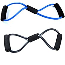 (Blue-Black) - Super Muscle Toner Resistance Excercise Band (Yellow,Blue & Black) and Hot or Cold Trigger Point Muscle Relief Kit